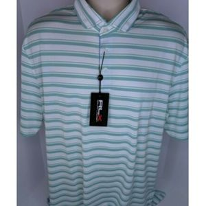 RLX Ralph Lauren XL Green White Striped Golf Polo